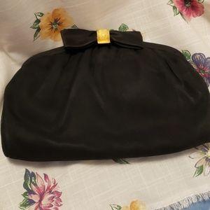 Vintage Black Satin Purse